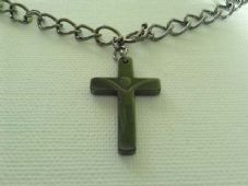 Unisex hematite crucifix necklace